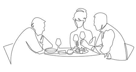 Birthday party continuous one line vector drawing. Woman and guests sitting at table drink wine, toast.