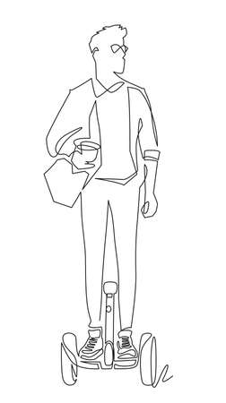 One single line drawing of young stylish man riding electric at city park vector illustration. Future transport. Healthy lifestyle sport concept.