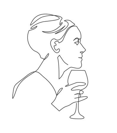 Women holding wine glass continuous one line vector drawing. Girl cocktail party. Holiday celebration. On corporate brought alcohol.