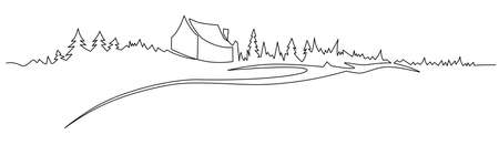 Rural landscape continuous one line vector drawing. Hills, house, forest and road hand drawn silhouette. Country nature panoramic sketch.