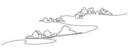 Rural landscape continuous one line vector drawing. Lake house in the woods hand drawn silhouette. Country nature panoramic sketch. Village minimalistic contour illustration. Illustration
