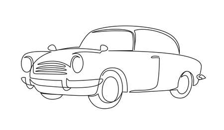 Retro car continuous one line vector drawing Illustration