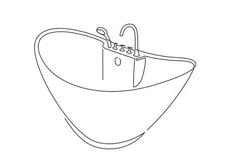 Bathtub outline icon, bathroom accessories linear style pictogram isolated on white. Bath continuous one line vector drawing.