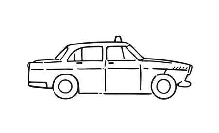 Vector graphic retro Taxi cab on white background. Classic taxi car model side view sketch line vector drawing Illustration