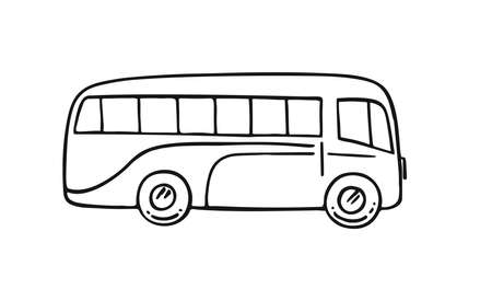 Retro bus, vintage, travel, camper van isolated on white background. Vector hand drawn illustration.