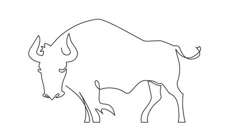 Illustration bull symbol of the Chinese New Year. 2021, the year of the bull.