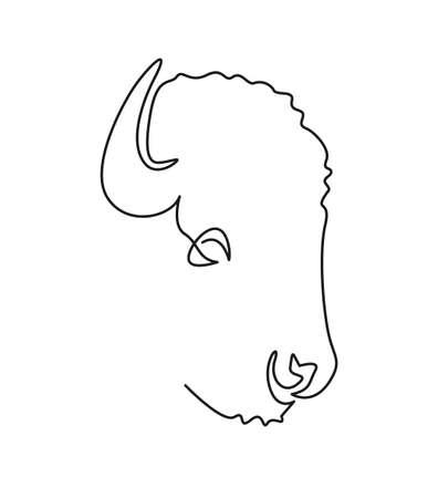 Continuous line bull . Buffalo single line vector illustration.