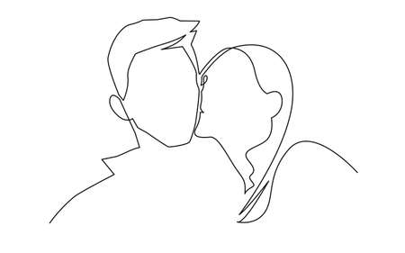 Illustration romantic kiss of two lovers, newlyweds, young people. Loving couple kissing, valentines day. A love story