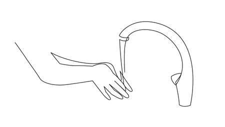 Illustration Wash hands icon, outline vector sign hand washing under the tap Illustration
