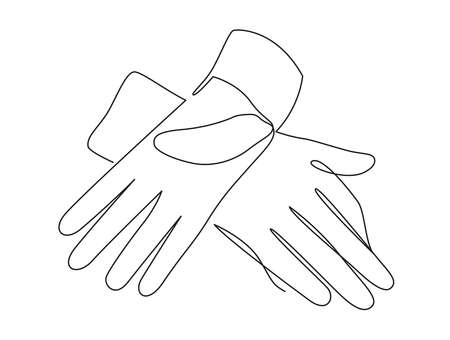 Medical protective gloves continuous one line vector illustration. Illustration