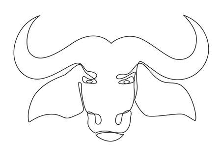 Illustration bull symbol of the Chinese New Year. 2021, the year of the bull. Minimalistic contour illustration. Illustration