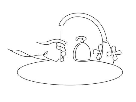 illustration Wash hands icon, outline vector sign hand washing under the tap, linear style pictogram isolated on white. Hygiene symbol.