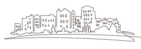 Modern cityscape continuous one line vector drawing. Metropolis architecture panoramic landscape. New York skyscrapers hand drawn silhouette. Apartment buildings isolated minimalistic illustration Illustration
