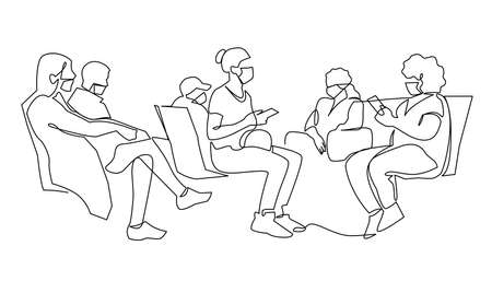 Sick passengers in medical protection masks waiting at airport terminal. People wearing mask to prevent infection. Passengers in the departure area vector illustration. Illustration
