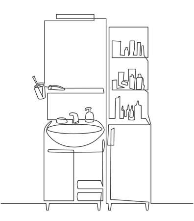 Continuous one line drawing of Bathroom interior with washbasin and mirror and cosmetic products for washing. The bath room sink in line style Illustration