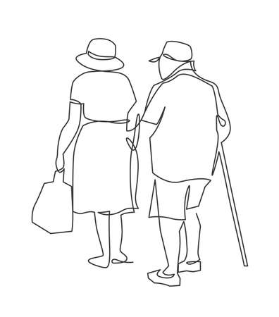 Continuous one line drawing of grandparents go hand in hand view from the back. Happy elderly couple walking with bag and stick. Vector illustration. 向量圖像