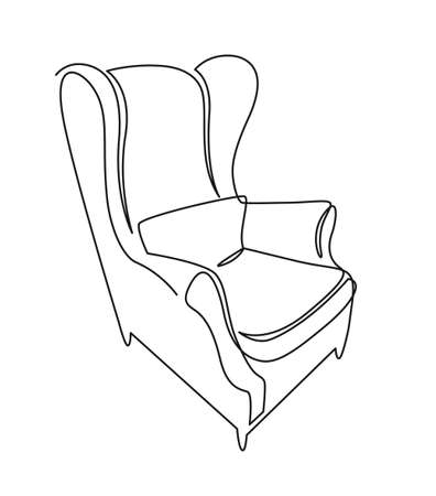 Continuous one line drawing armchair. Stylish living room interior, chair vector hand drawn silhouette clipart. Sketch of scandinavian furniture design Ilustração