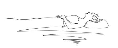 Continuous one line drawing of woman sleeping on memory foam. Vector illustration sleeper sleeper in profile.