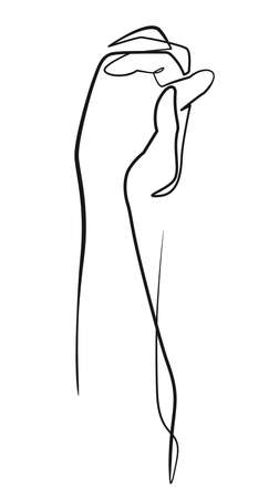 Concept of love continuous one line drawing. Doodle hand of lover holding each other vector illustration.