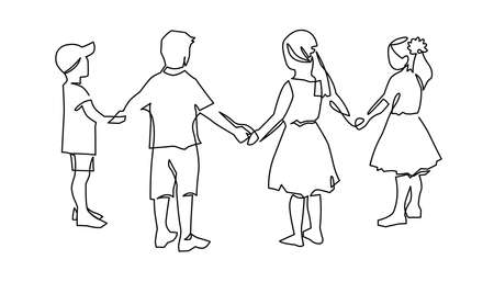 Group of young children holding hands continuous one line drawing. Kindergarten friendships concept. Happy cute kids in unity.