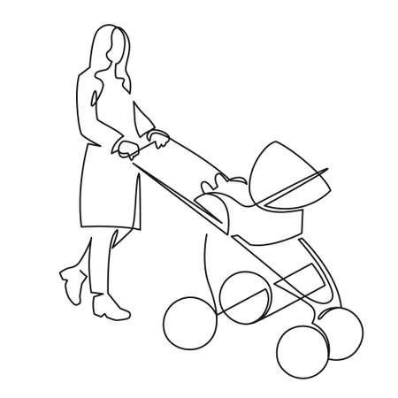 Continuous one line drawing of mom with a toddler in a stroller drawn by hand vector illustration. Mother with a baby on a walk.