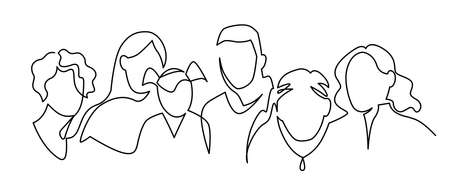 Group of people continuous one line vector drawing. People of different ages together. Family portrait Ilustração