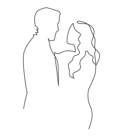 Continuous one drawn single line of romantic embrace of two lovers, newlyweds, young people. Loving couple hugging, valentines day. A love story with a guy and a girl