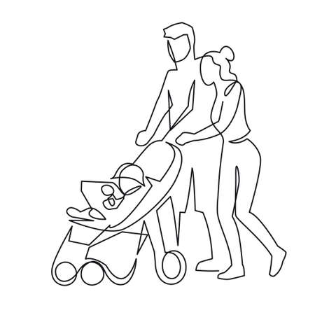 Continuous one line drawing of mom and dad with a toddler in a stroller vector illustration. Husband and wife with a baby on a walk. The young married couple walks with the wheelchair outdoor Ilustração