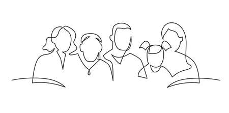 Group of people continuous one line vector drawing. People of different ages together. Family portrait, friends hand drawn characters. Minimalistic contour illustration.