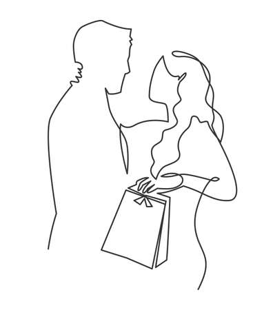A couple of lovers give holiday gifts. A scene of a man and a woman are in love and hug staring at each other. Continuous one line drawing of wife thanks her husband for the gift and kisses.