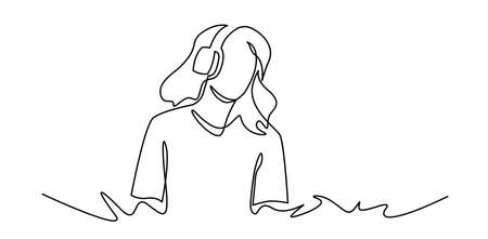 Continuous one line drawing of Young woman listens to music. DJ girl with earphones. Lifestyle teeanager clipart. Spending free time, rest. Leisure activity.
