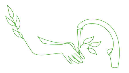 Save Water Concept Recycled Water, World Water Day Save Nature. Continuous one line drawing of eco wash hands 向量圖像