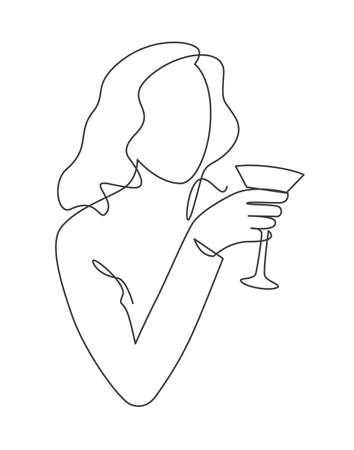 Women holding wine glass continuous one line vector drawing. Girl cocktail party. Holiday celebration. 向量圖像