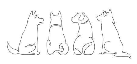 Continuous One Line Drawing of sitting dog from back. Hand drawn illustration, back view set of dog outline icons. Cute pets