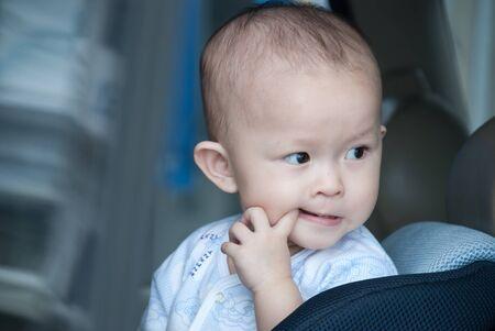 differnt: asian kid portrait in differnt emotion outdoor Stock Photo