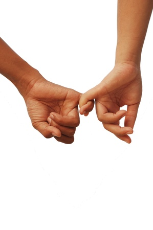 dating couples: Sign of love with two lover hands together Stock Photo