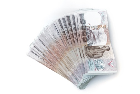 baht: thai banknotes isolated on white background