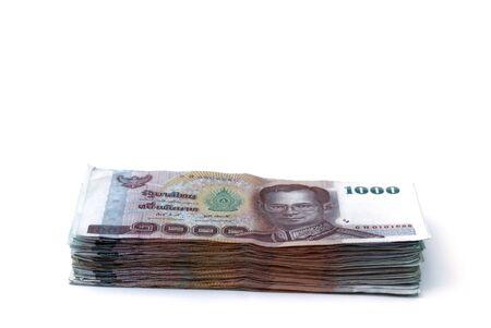 thai banknotes isolated on white background photo