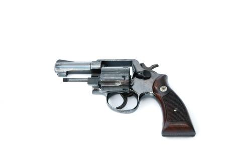 black gun isolated on thite background photo