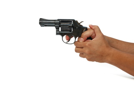 shooting gun isolated on thite background photo