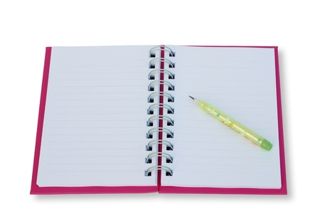 blank notebook isolated on thite background photo