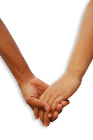 lovely woman: Sign of love with two lover hands together Stock Photo