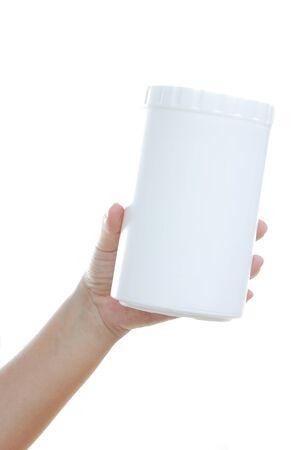 advertize: lady hand holding object isolated on white background Stock Photo