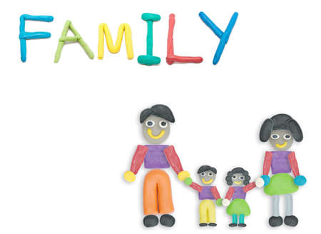 advertize: color clay art kid style of cute family