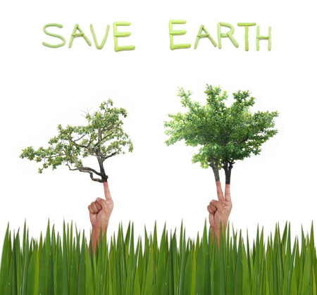 advertize: save earth art work on white background