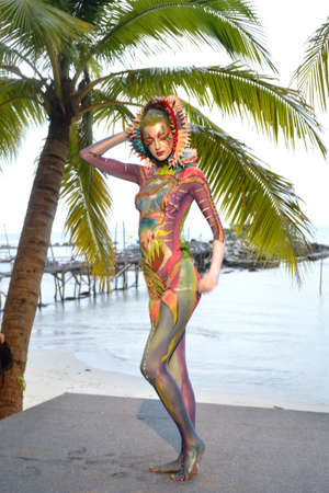 KO SAMUI, THAILAND - MARCH 26,2011 - Model picture body painting in Ko Samui island, Thailand. The first body painting in asia.