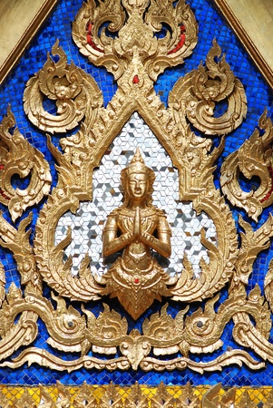 close up of nice sculture at the thai temple photo