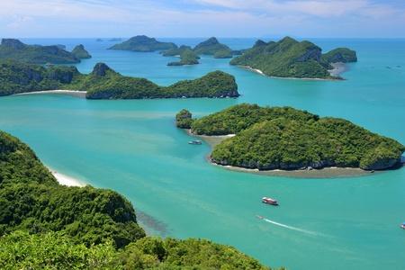 ko: landscape bird eye view of angthong national marine park ko samui