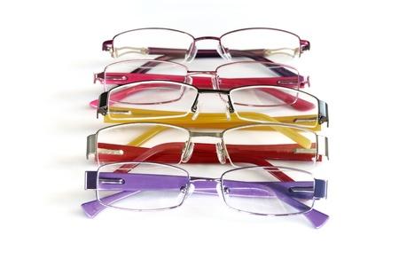color eye glasses frame isolated on white background photo