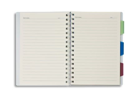 journal intime: Bloc-notes ouvert blanc isol� sur fond blanc